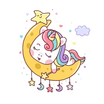 Cute unicorn sleep on moon isolated on white