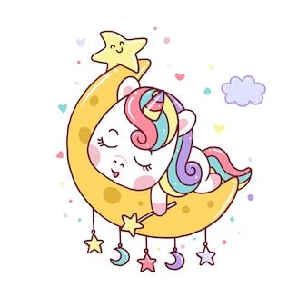 Милый единорог спит на луне, изолированной на белом