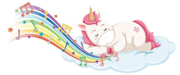 Simpatico unicorno che dorme sulla nuvola con simboli di melodia sull'arcobaleno