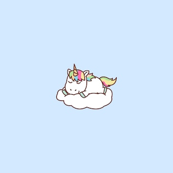 Cute unicorn sleeping on a cloud
