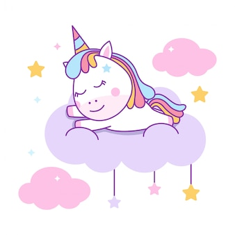 Cute unicorn sleeping