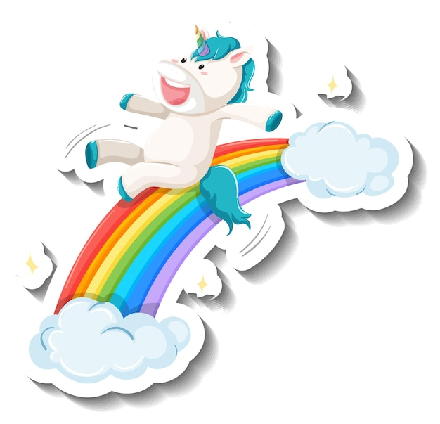 Cute unicorn slide on rainbow cartoon sticker