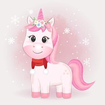 Cute unicorn and snowflake watercolor illustration