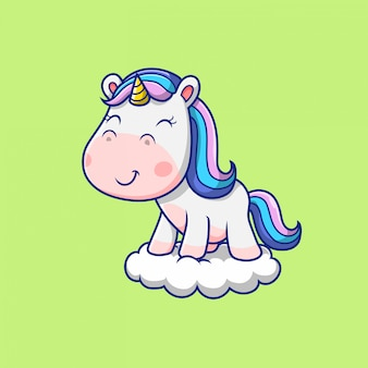 Cute unicorn standing in the cloud illustration
