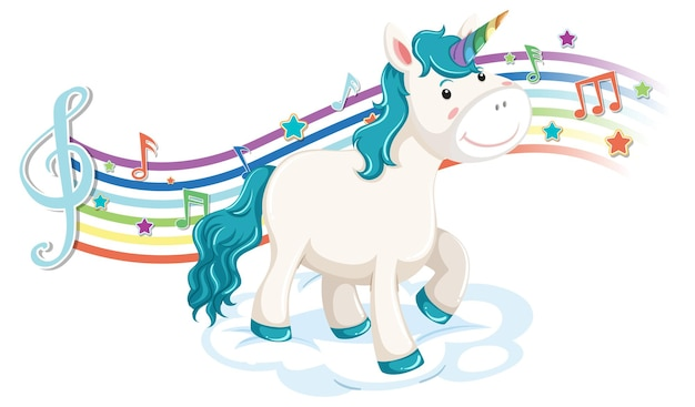 Cute unicorn standing on the cloud with melody symbols on rainbow
