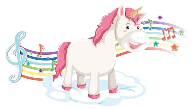 Simpatico unicorno in piedi sulla nuvola con simboli di melodia sull'arcobaleno