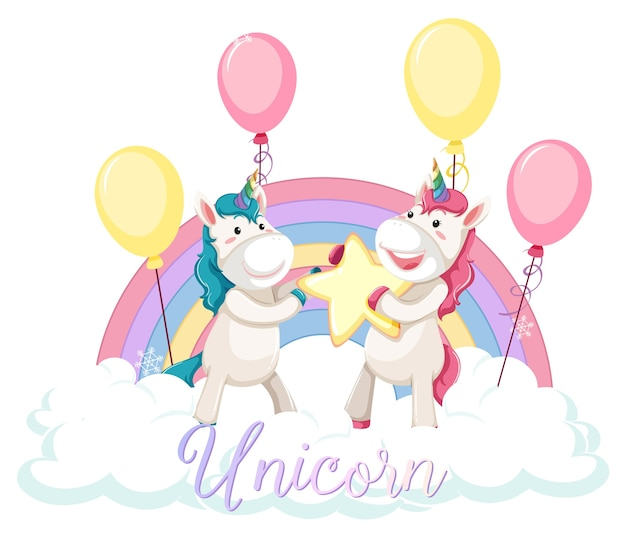 Cute unicorn standing on the cloud with pastel rainbow isolated