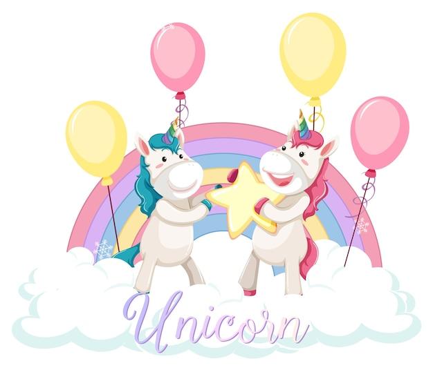 Unicorno carino in piedi sulla nuvola con arcobaleno pastello isolato