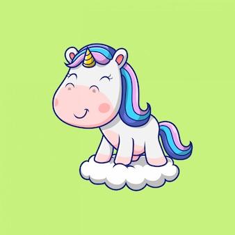 구름 그림에 서있는 귀여운 유니콘