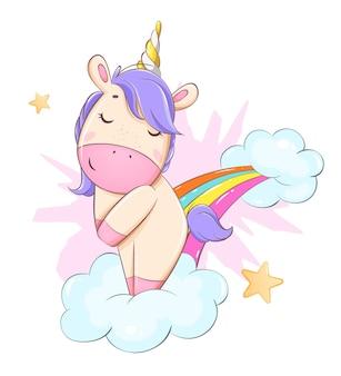 虹の漫画のキャラクターの上に立っているかわいいユニコーン