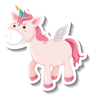 Cute unicorn standing pose on white background