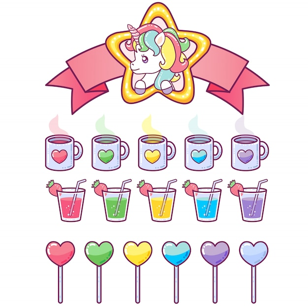 Cute unicorn in a star frame with a collection of delicious icons
