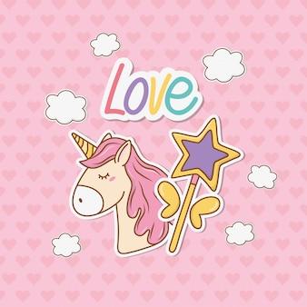 Cute unicorn sticker kawaii style