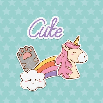 Cute unicorn sticker kawaii style