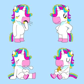 Cute unicorn sticker vector illustration,boring,cool, full, and eat unicorn pose