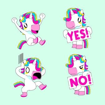 Симпатичная наклейка единорога векторная иллюстрация, счастливая, да, нет и шокированная реакция единорога
