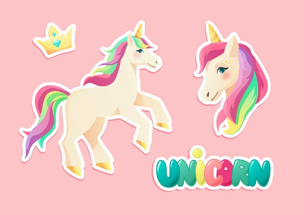 Cute unicorn stickers in flat style hand lettering text