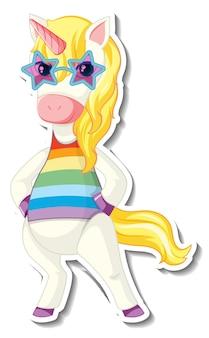 재미있는 유니콘 만화 캐릭터가 있는 귀여운 유니콘 스티커