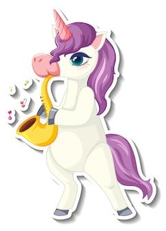 Симпатичные стикеры единорога с фиолетовым единорогом, играющим на саксофоне