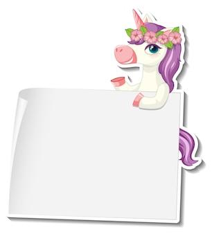 Simpatici adesivi unicorno con modello di banner vuoto