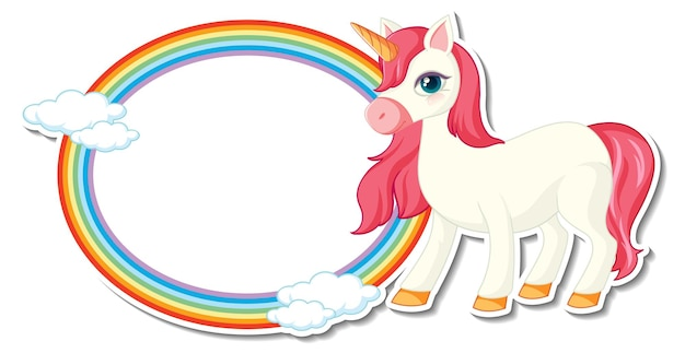 Cute unicorn stickers with blank rainbow frame template