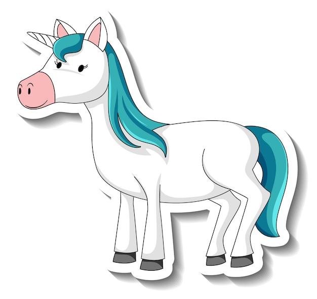 Simpatici adesivi unicorno con un personaggio dei cartoni animati unicorno blu