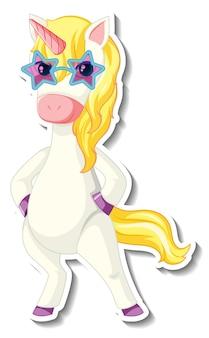 Simpatici adesivi unicorno con un divertente personaggio dei cartoni animati unicorno