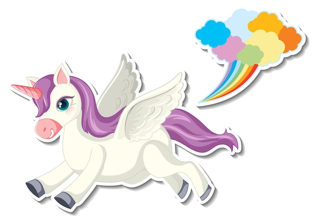 Cute unicorn stickers with a pegasus flying cartoon character