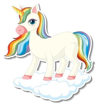 Simpatici adesivi unicorno con un unicorno arcobaleno in piedi sulla nuvola