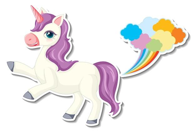 Cute unicorn stickers with a unicorn cartoon character