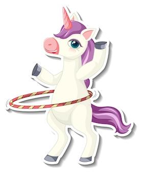 Simpatici adesivi unicorno con un unicorno che gioca a un personaggio dei cartoni animati di hula hoop
