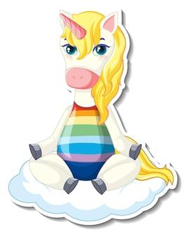 Simpatici adesivi unicorno con un unicorno seduto sulla nuvola Vettore gratuito