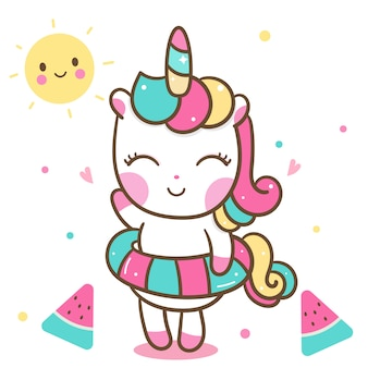 Cute unicorn in summer holiday