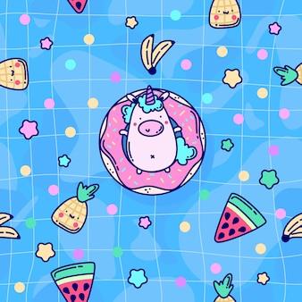 Cute unicorn summer pattern