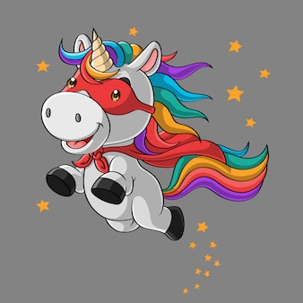 Cute unicorn super hero cartoon, flying in the sky, hand drawn