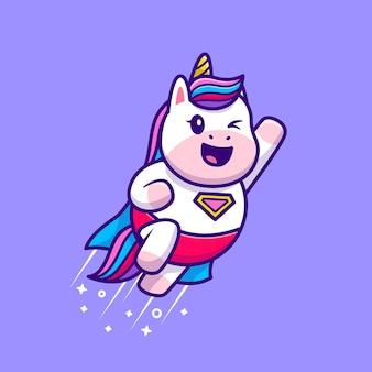 귀여운 유니콘 슈퍼 영웅 비행 만화 아이콘 그림입니다. 동물 영웅 아이콘 개념 절연입니다. 플랫 만화 스타일