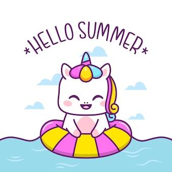 Cute unicorn swim with swimming tires