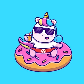 Cute unicorn swimming with donut balloon and holding juice cartoon vector  illustration. animal holiday  concept isolated  vector. flat cartoon style