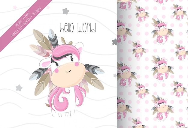 Cute unicorn tribal with seamless pattern