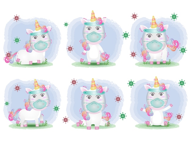 Cute unicorn using face shield and mask collection