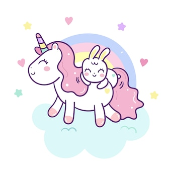 Cute unicorn vector and bunny rabbit cartoon