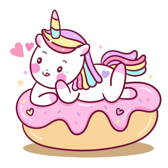 Cute unicorn vector on cake cartoon