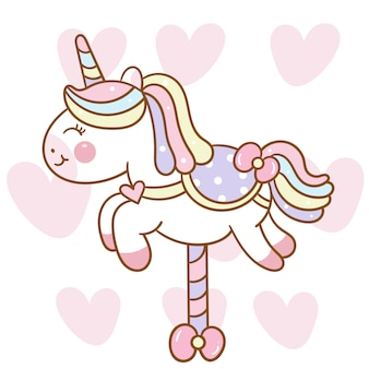 Cute unicorn vector carousel horse cartoon