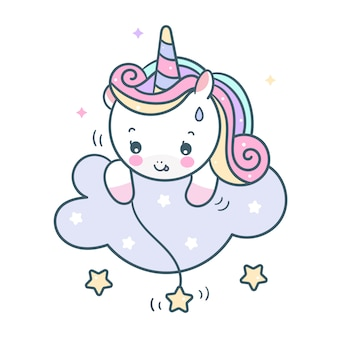Cute unicorn vector catching star on cloud