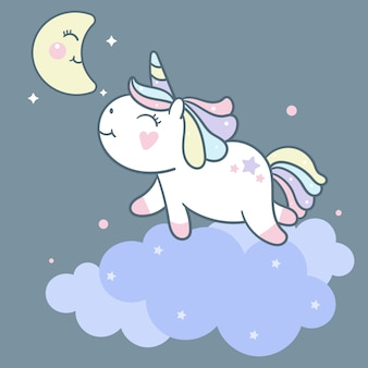 Cute unicorn vector on cloud and moon cartoon