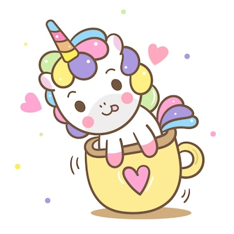 Cute unicorn vector in cup