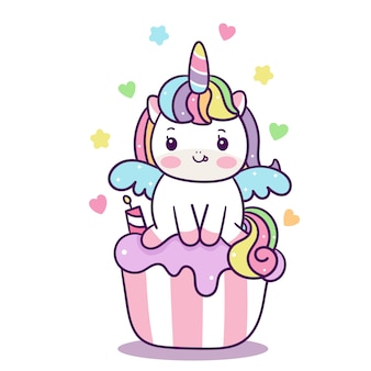 Cute unicorn vector on cupcake cartoon