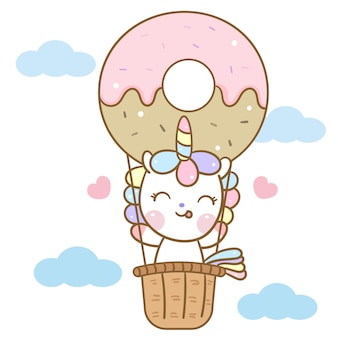 Cute unicorn vector in donut balloon cartoon