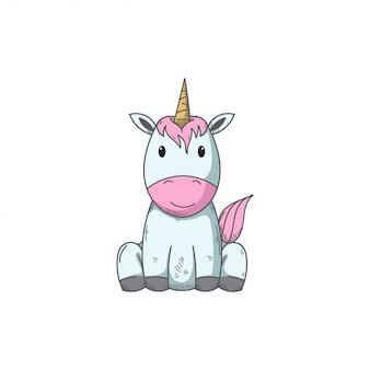 Cute unicorn vector hand draw illustration