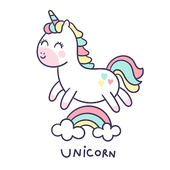 Cute unicorn vector hand drawn style